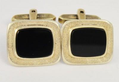 Boutons de manchette onyx 1950 signés Champion