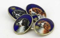 Exceptionnels boutons de manchette avec miniatures de chiens