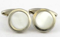 Boutons de Manchette 1930 en nacre irisée blanche