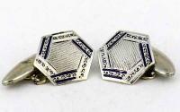 Boutons de manchette anglais 1930 en argent