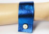 Nice Manchette cuir bleu et manchette 1920