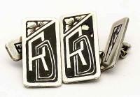 Boutons de manchette Lettres RD art nouveau 1900 en argent