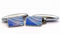 Boutons de manchette émaux bleus et métal blanc