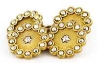 Rares boutons de manchette vintage quatre faces en metal doré et blanc.