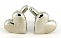 Boutons de manchette coeur en métal blanc