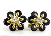 Boutons de manchette 1960 cristal ebonite et métal doré