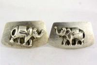 Boutons de manchette vintage Eléphants en argent