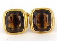 Boutons de manchette vintage quartz fumé sur plaqué or