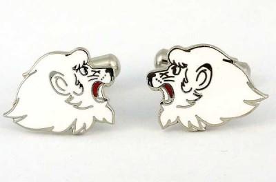 Boutons de manchette lions blancs