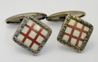Boutons de manchette 1900 en celluloïd blanc et rouge