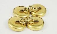 Boutons de manchette en métal doré à chainettes