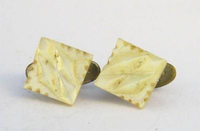 Boutons de plastron XIXe carrés en nacre blanche