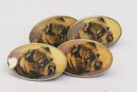 Boutons de manchette chiens en argent 1900