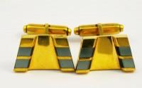 Boutons de manchette 1950 nacre grise et or