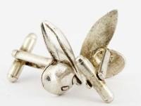 Boutons de manchette en argent olive et feuille