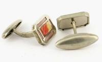 Boutons de manchette 1930 celluloïd et métal blanc