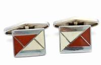 Boutons de manchette Art Déco 1930 email et métal blanc
