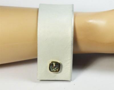 Nice Manchette en cuir blanc et bouton 1930 en nacre