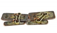 Boutons de manchette vintage artisanaux en cuivre patiné