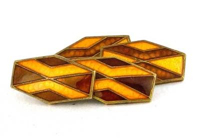 Boutons de manchette Art Déco 1930 émail cloisonné orange