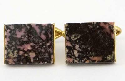 Boutond de manchette vintage en pierre fine noir et rose