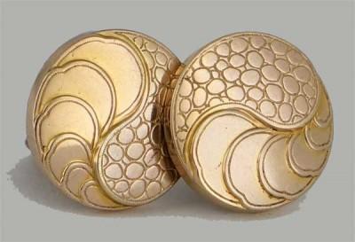 Boutons de manchette XIXe siècle en or plaqué
