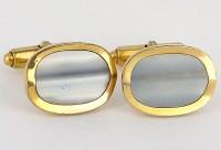Boutons de manchette 1950 plaqués or à face de nacre grise