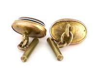 Boutons de manchette dorés 1930 à 3 pierres