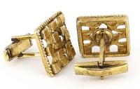 Boutons de manchette vintage fantaisie dorés et ajourés