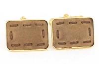 Boutons de manchette à faces en cuir sur plaqué or