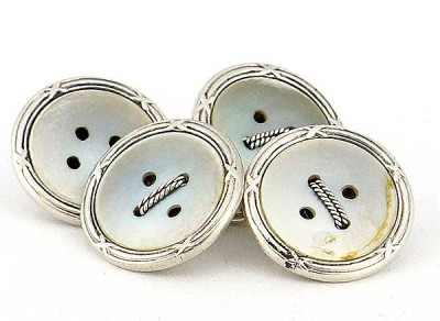 Magnifiques boutons de manchette 1900 nacre sur argent