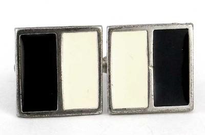 boutons de manchette vintage crème et noirs