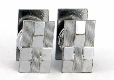 Boutons de manchette 1930 en métal blanc