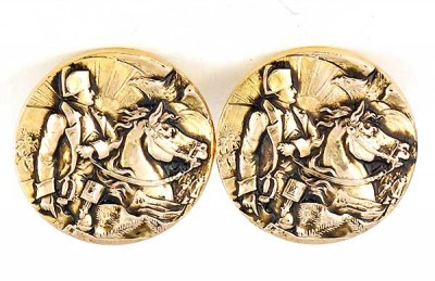 Boutons de manchette vintage Napoleon à cheval or plaqué