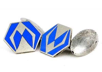 Boutons de manchette Art Déco eposue 1930 émail bleu
