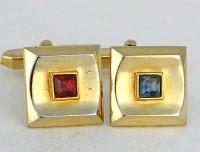 Boutons de manchette vintage dorés à cabochon de gemmes rouge et bleue