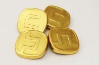 Boutons de manchette 4 faces en métal doré